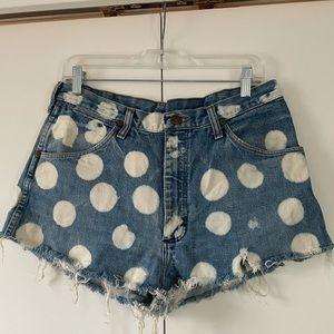 Custom bleach/ distressed wrangler jean shorts